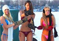 冬季美女户外比基尼冰钓精彩图集